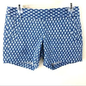 J.crew City Fit Patterned shorts blue and white 0